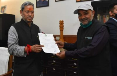 रुद्रपुर शहर के इस सबसे बड़े मुद्दे को लेकर सुरेश परिहार ने की नवनियुक्त मुख्यमंत्री तीरथ सिंह रावत से मुलाकात