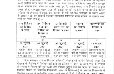 उत्तर प्रदेश राज्य निर्वाचन आयोग ने जारी किया ब्लाक प्रमुख चुनाव का शैड्यूल…जिस तारीख में होगा मतदान उसी तारीख को देर रात घोषित होंगे परिणाम